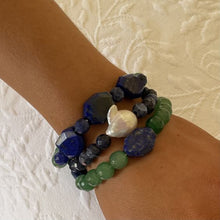 Load image into Gallery viewer, Lapis, Jade and Baroque Pearl Triple Stack Bracelets