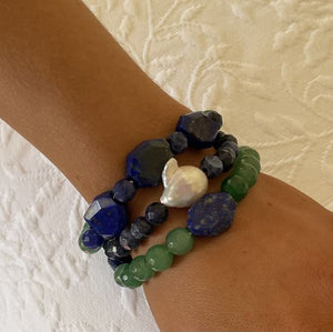 Lapis, Jade and Baroque Pearl Triple Stack Bracelets