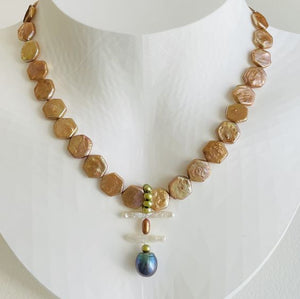 Artful Copper and Tahitian Pearl Necklace
