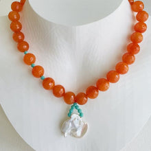 Load image into Gallery viewer, Artful Tangerine Jade and Keishi Pearl Necklace