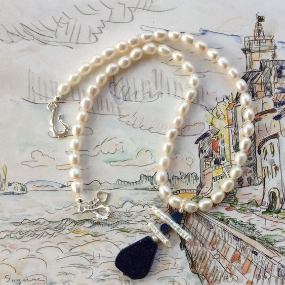 Freshwater Pearls and Lapis Enhanced Necklace