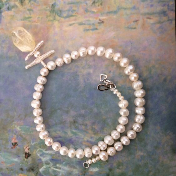 Freshwater Pearl and Citrine Quartz Necklace