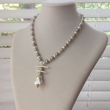 Load image into Gallery viewer, Gray and White Freshwater and Baroque Pearl Necklace