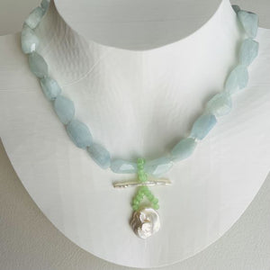 Garden Aquamarine and Baroque Pearl Necklace