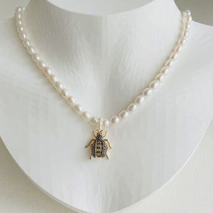 Freshwater Pearl and Pave Bug Necklace