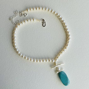 Freshwater Pearl and Faux Turquoise Necklace