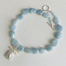 Load image into Gallery viewer, Garden Aquamarine and Pearl Necklace