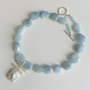 Garden Aquamarine and Pearl Necklace