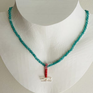 Artful Red Orange Coral, Turquoise Jade and Pearl Necklace