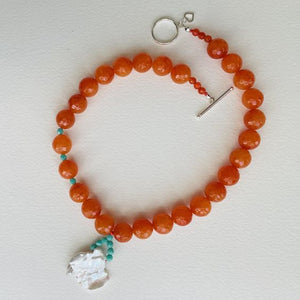 Artful Tangerine Jade and Keishi Pearl Necklace