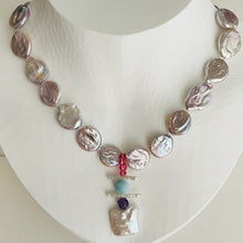 Load image into Gallery viewer, Artful Coin Pearls with Square Pearl Pendant Necklace