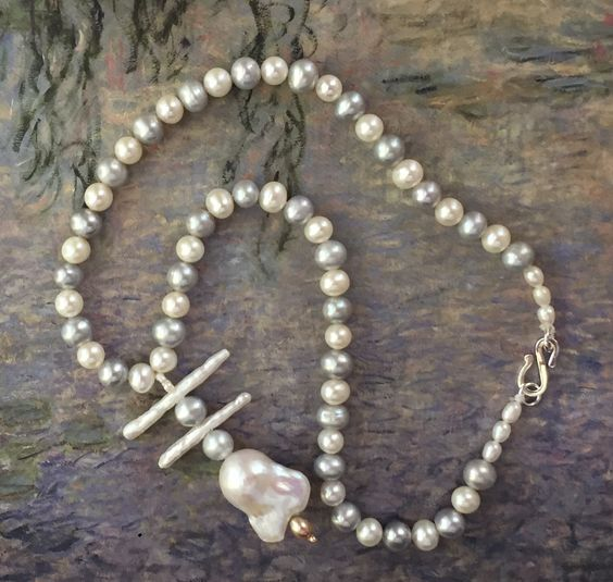 Gray and White Freshwater and Baroque Pearl Necklace