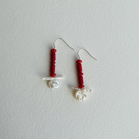 Red Coral and Freshwater Pearl Earrings