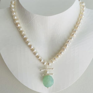Garden Freshwater Baroque Pearl and Chalcedony Necklace