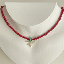 Load image into Gallery viewer, Red Coral and Freshwater Baroque Pearl Necklace