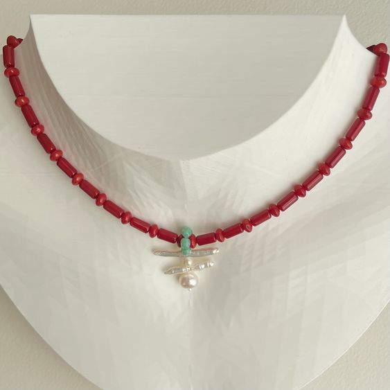 Red Coral and Freshwater Baroque Pearl Necklace