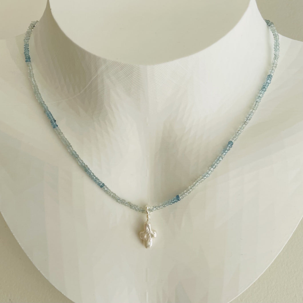 Aquamarine and Freshwater Pearl Cross Necklace