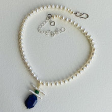 Load image into Gallery viewer, Freshwater Pearl and Lapis Necklace
