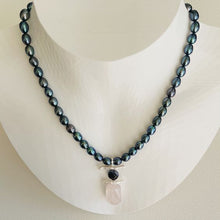 Load image into Gallery viewer, Garden Peacock Pearls and Rose Quartz Necklace