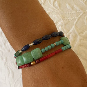 Turquoise, Lapis, and Coral Three Stand with Clasp Bracelet