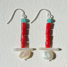 Load image into Gallery viewer, Artful Red Orange Coral, Turquoise Jade and Pearl Earrings