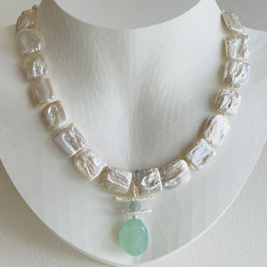 Garden Square Pearl and Chalcedony Necklace