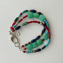 Load image into Gallery viewer, Turquoise, Lapis, and Coral Three Stand with Clasp Bracelet