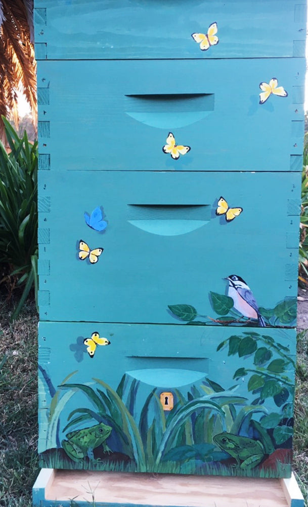 Painted Bee Hive by Peg Quinn
