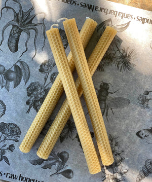 Hand Rolled Beeswax Taper Candles set of 4