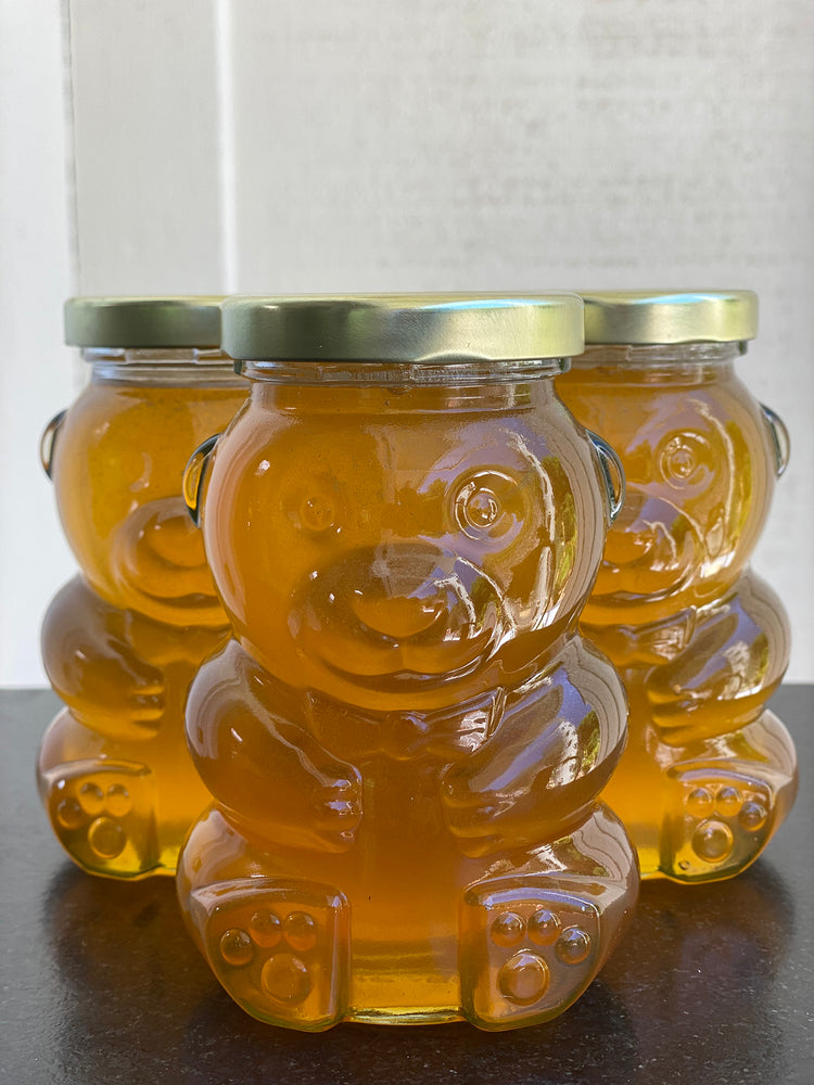 Load image into Gallery viewer, Santa Barbara Hives Honey in Glass Teddy Bear Jar