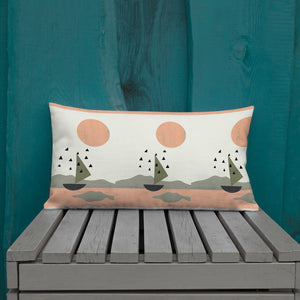 Sun and Boat Premium Pillow