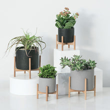 Load image into Gallery viewer, Nordic Solid Wood & Cement Flower Stand