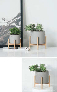 Nordic Solid Wood & Cement Flower Stand