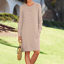 Load image into Gallery viewer, Casual Linen Long Sleeve Tunic Kaftan Dress