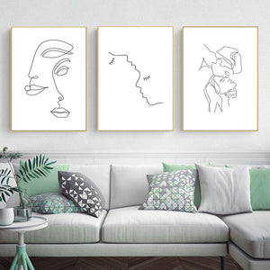 Abstract Lady Line Drawing Nordic Canvas Print