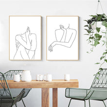 Load image into Gallery viewer, Abstract Lady Line Drawing Nordic Canvas Print