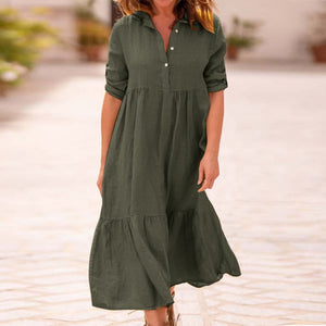 Cotton Linen Dress Long Sleeve