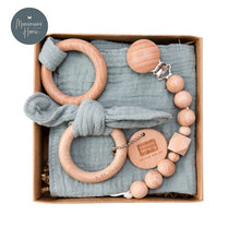 Load image into Gallery viewer, Gif Set Of Cotton Pacifier Clip Chain, Beech Wooden Teether Ring & Saliva Towel