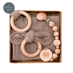 Gif Set Of Cotton Pacifier Clip Chain, Beech Wooden Teether Ring & Saliva Towel