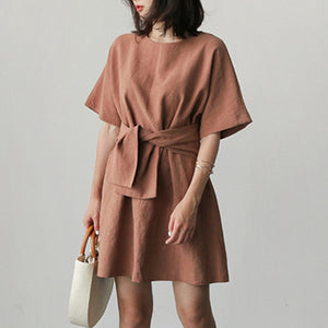 High Waist Linen Summer Dress