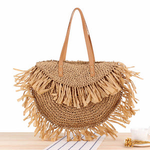 Tassel Rattan Shoulder Beach Bag