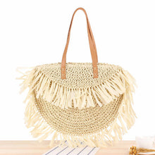 Load image into Gallery viewer, Tassel Rattan Shoulder Beach Bag