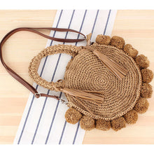 Load image into Gallery viewer, Round Straw Bohemian Tassel Bag
