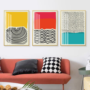 Modern Multicolored Abstract Geometric Wall Art Canvas Print