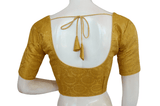 Plus Size Gold Color Brocade Silk Readymade Saree blouse