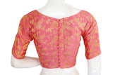 Pastel Pink Color Brocade Silk Boat Neck Designer Readymade Blouse