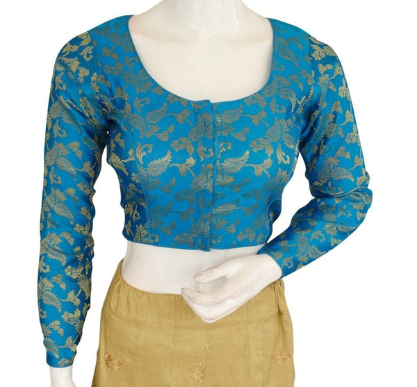 Blue Color Brocade Silk Designer Readymade Blouse with Full Sleeves