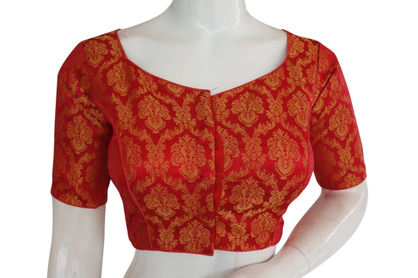 Red Color Brocade Silk Readymade Blouse with Sweetheart Neck