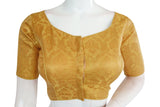 Gold Color Brocade Silk Readymade Blouse with Sweetheart Neck