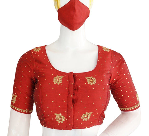 Maroon Color Bridal Aari work Designer Readymade Blouse